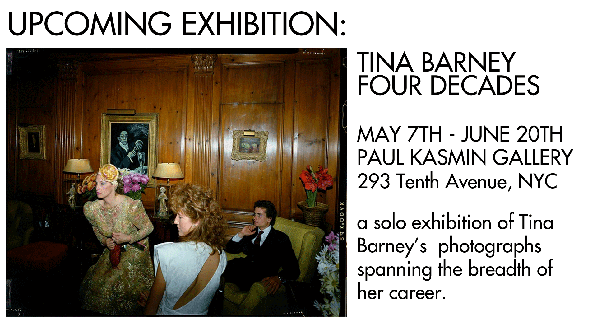 Upcoming Exhibition: Tina Barney